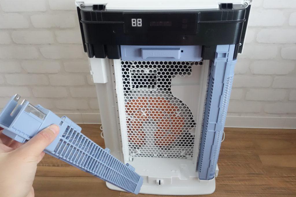 ダイキン加湿ストリーマ空気洗浄機MCK70Tのプラズマイオン化部を取り外す