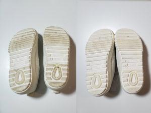 洗濯ネットで洗濯機洗いした上靴の底面